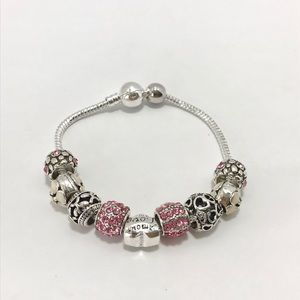 3 for $20 Silver Pink 9 Charms Bracelet Spring